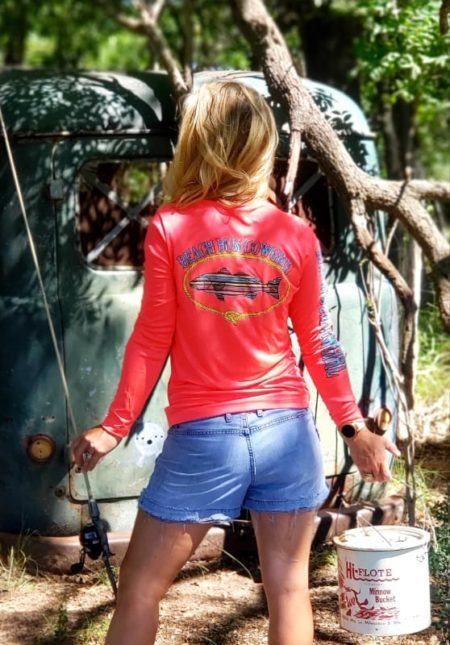 Hot coral serape shirt back